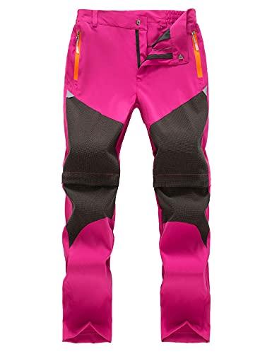 Echinodon Kinder 2-in-1-Funktionshose Jungen Mädchen Outdoorhose Schnelltrockend Leicht Sommer Frühling Wanderhose Trekkinghose Rosa 110