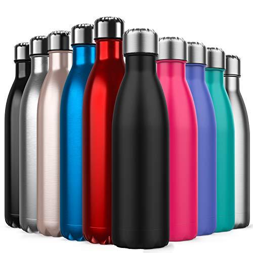BICASLOVE Bottiglia Termica, Bottiglia per Vuoto in Acciaio Inossidabile,Design a Doppia Parete, Bocca Standard, per Corsa, Palestra, Yoga, Ciclismo [500ML Nero]
