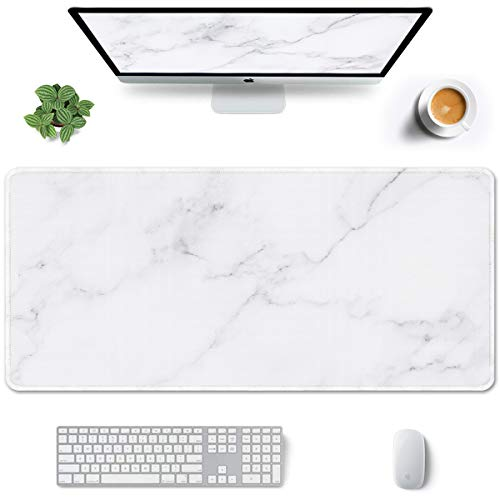 Auhoahsil Large Mouse Pad, Full Desk XXL Extended Gaming Mouse Pad 35' X 15', Waterproof Desktop Mat with Stitched Edge, Non-Slip Laptop Computer Keyboard Mousepad for Office and Home, Marble Design