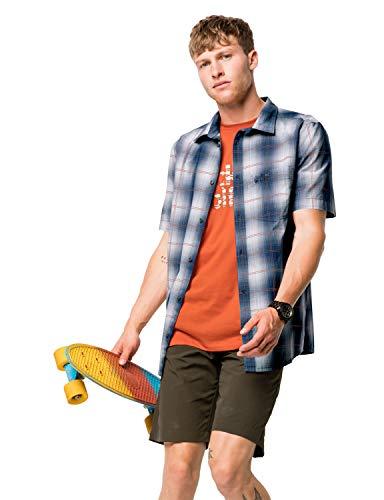 Jack Wolfskin Hot Chili Shirt M, Herren Hemd für Reisen und Freizeit, bequemes Karohemd für Männer, kariertes Hemd aus Baumwolle für heiße Tage