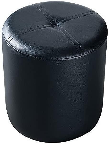 Kings Brand Furniture 3215 BL Josue Round Ottoman Stool Black Vinyl Renewed