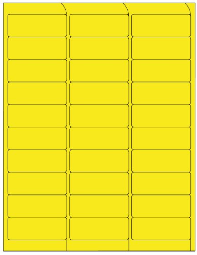 Compulabel 311152 Fluorescent Yellow Address Labels for Laser Printers, 2 5/8 x 1 Inch, Permanent Adhesive, 30 per Sheet, 100 Sheets per Carton