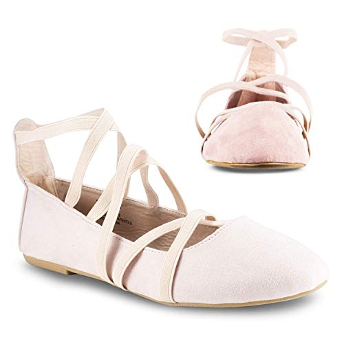 Twisted Sara Womens Flats   Ballet Flats with Elastic Straps and Comfort Insole, Blush, 9