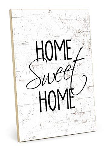 TypeStoff Targa in legno con scritta in lingua inglese 'Home Sweet Home' in stile vintage con citazione come regalo e decorazione per la casa e la famiglia (19,5 x 28,2 cm)