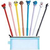 BTS Cartoon Animal Cute Black Gel Ink Pens Set 8 pcs (0.5mm tip) with 1pcs Pen bag Office School Children Gift Stationery Supplies Set