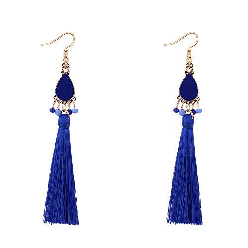 YAZILIND Haken Ohrringe Legierung Tropfen Baumeln Lange Quaste Perlen Anhänger Böhmischen Stil Schmuck für Frauen (Blau)