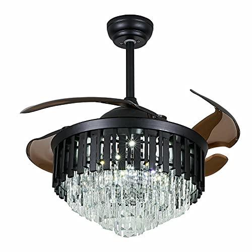 Ventilador de techo de 56 W con iluminación, lámpara de cristal moderno, bombillas de 36 W y mando a distancia (incluido), decoración de salón dormitorio, 42 pulgadas, color negro