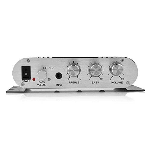 Tosuny Mini Hifi 2.1 stereo audioversterker ontvanger auto home-audio-versterker, compatibel met mobiele telefoons, DVD-spelers, computers, MP3/MP4