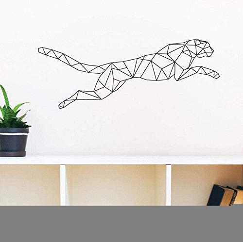 Adhesivos de pared Geométrico Jaguar Adhesivo de pared Running Leopard Decoración para el hogar Dormitorio para niños Calcomanía de arte Habitación para niños Decoración para el hogar 58X22Cm