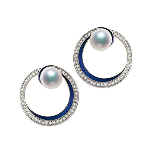 KnSam 18K Oro Blanco Pendiente, Arete Irregular Circulo con Perla Diamante Blanco, Perla Blanco, Color Oro Blanco