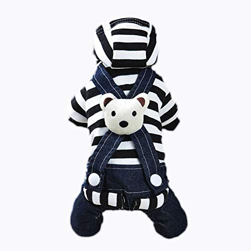 New Bear Striped Denim Skirt Bib Pet Clothes For Autumn and Winter, Dog Hoodies Clothes, Pet Puppy Cat Cute Cotton Warm Hoodies Coat, Doggy Fashion Jumpsuit ApparelBLACK-32 * 22