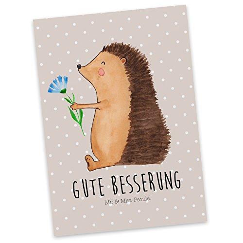 Mr. & Mrs. Panda Postkarte Igel mit Blume - Igel, Gute Besserung, Genesungswünsche, Krankheit, Krankenhaus, krank, Besuch Postkarte, Geschenkkarte, Grußkarte, Karte, Einladung, Ansichtskarte, Sprüche