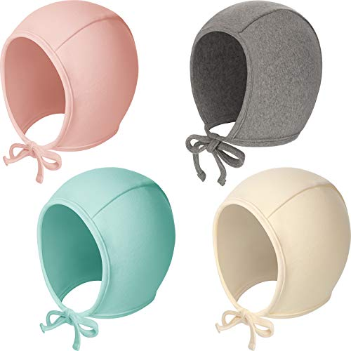 4 Pieces Newborn Baby Hat Infant Bonnet Hat Soft Cotton Beanie Caps Adjustable Kids Warm Hat for Baby Boys Girls