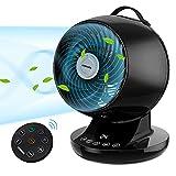 Ventilador de Mesa Silencioso Acekool ND1 Diámetro 20cm con Mando a Distancia Lleva 12 Velocidades y 3 Modos Cabeza Oscilante Bajo Consumo Circulador de Aire Temporizador 12 Horas Pantalla Táctil