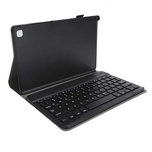 Funda con Teclado para Samsung Galaxy Tab A7 T500 / T505 de 10,4 Pulgadas Tableta, Funda Trasera de Cuero de PU con Teclado Bluetooth inalámbrico Desmontable, Dorado/Negro/Dorado Rosa(Negro)