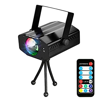 Leoker Projector Party Disco DJ Lights Ocean Wave Stage Lighting Effects 7 RGB Colors Mini Strobe LED Ball for Kids Toys Birthday Gifts Holiday Night Lamps Club Karaoke House Bedroom Bar Wedding Show