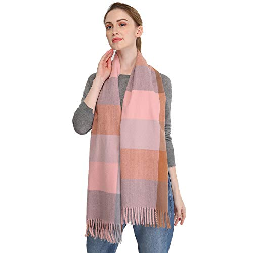 Longwu 100% Cachemira súper suave para mujer Bufandas cálidas y acogedoras Múltiples colores, gran tamaño, usar como chal, envolver o cubrir