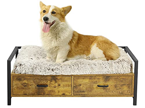 MSMASK Pet Dog Bed Frame with Drawer, Modern Cats Dogs Wood Beds, Couch Sofa Elevated Wooden Dog Furniture Easy to Clean