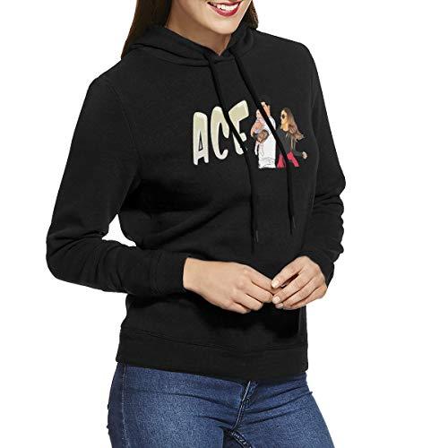 Women's Hooded Sweatshirt No Pockets European and American Retro Elegant Custom ACE Family Logo Black M