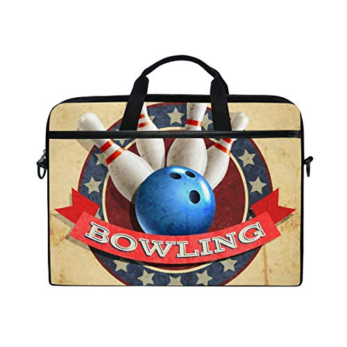 Laptop-Tasche Sport Bowlingkugel Muster Laptop Schulter Umhängetasche Hülle mit Riemengriff für Notebook-Computer