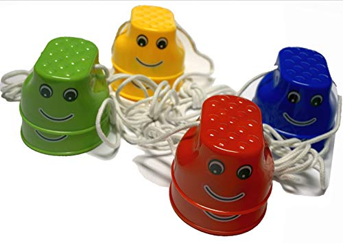 Minis Kreativ 4-er Set Laufdosen Outdoor 4 Paar Laufstelzen (incl. Minis Outdoor Überraschung), Becherstelzen, für Kinder; Spielzeug für draußen