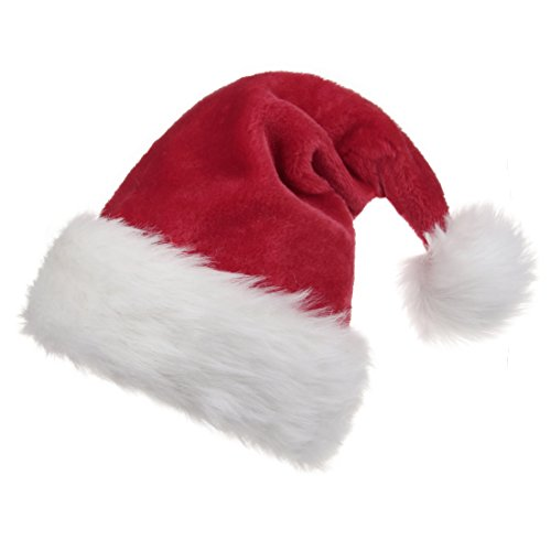 B-Land Unisex-Adult's Santa Hat, Christmas Hat for Adults Wowen Man Extra Thicken Holiday Hat with Comfort Liner