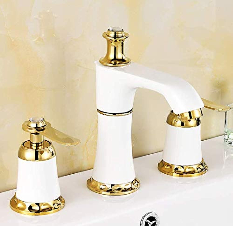 Bathroom Faucet European-Style Faucet golden Roast White Paint Basin Split Three-Piece Four-Piece Three-Hole Four-Hole