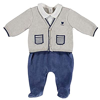 Mayoral Baby Boys Adorable All-in-One Cardigan Over Footie (6-9 Months) Grey, Blue