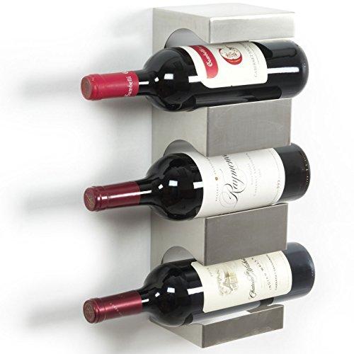 brightmaison 3 Bottle Wine Rack Wall Mounted and Stackable Bottle Rack Holder Storage Organizer with Top Shelf Design for Modern Decor Metal 3 Bottles