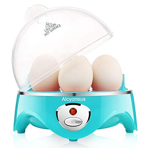 Alcyoneus Egg Cooker, Egg Boiler Electric, Hard Boiled Egg Maker with Auto Shut Off, Noise-Free & 7-Capacity, Suitable for Poached Egg, Scrambled Eggs, Omelets - Aqua