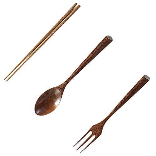 Hemoton Wooden Flatware Tableware Cutlery Set 3pcs Travel Utensils Wooden Fork Spoon Chopsticks for Cooking Stirring Eating