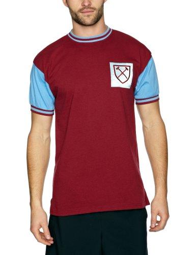 ScoreDraw Mens West Ham United 1966 No6 Retro Football Shirt Claret and Sky Large