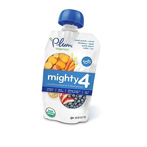Plum Organics Mighty 4, Organic Toddler Food, Sweet Potato, Carrot, Blueberry, Apple, Greek Yogurt, Millet & Oat, 4 ounce
