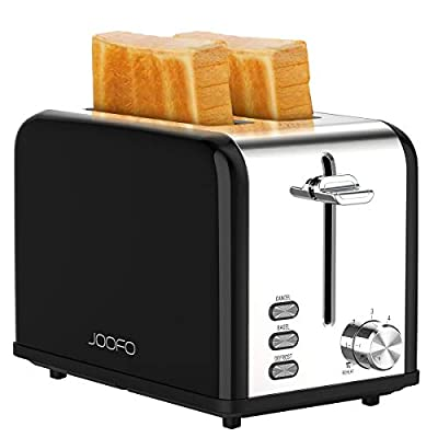 JOOFO 2 Slice Stainless Steel toaster,6 Shade Settings Extra-Wide Slot Toaster with Bagel, Cancel, Defrost,Reheat Function Removable Crumb Tray (2 Slice, Beige)