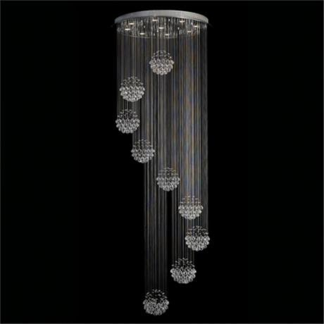 7PM H110' x W32' Modern Nine Sphere Rain Drop Clear K9 Crystal Chandelier for Hotel Hall Staircase Lighting Fixture