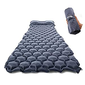 ZOOOBELIVES Ultralight Sleeping Pad with Built-in Pillow, Inflatable Camping Mattress for Backpacking, Traveling and Hiking, Compact and Portable Camp Mat