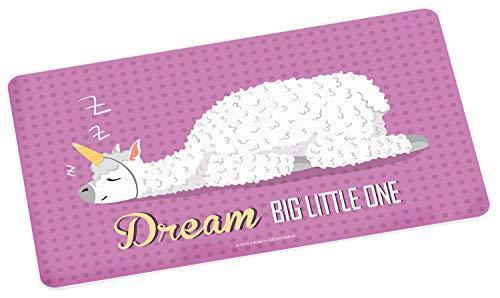 Lama 12014 Brettchen rosa, ca. 23,5 x 14,5 cm, Motiv und Schriftzug Dream big little One, Melamin, Mehrfarbig