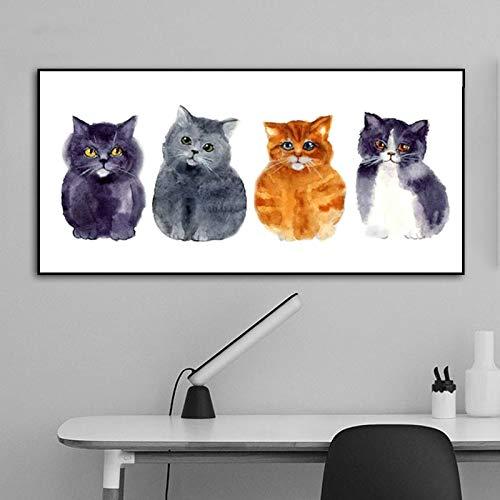 ganlanshu Rahmenlose Malerei Kunst Leinwand Zeichnung lustige Katzen und Hunde Bilder niedliche Tiere Moderne Wohnkultur WandkunstZGQ6027 50X100cm