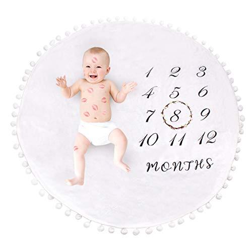 Rehomy Manta mensual para bebé, manta de fondo de franela gruesa y redonda