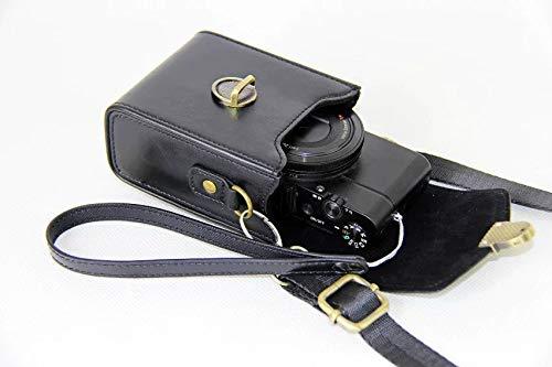 Pride Kings Premium Kameratasche aus Leder mit verstellbarem Gurt | Kamera Schutzhülle für Nikon, Sony, Fuji, Casio, Olympus, Samsung, Canon, Panasonic u.a. | Schnappverschluss | Schwarz