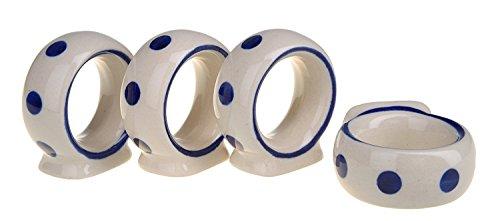 BCV Boleslawiec Pottery de cerámica pintada A de aros para servilletas juego de 4, 127-T-075