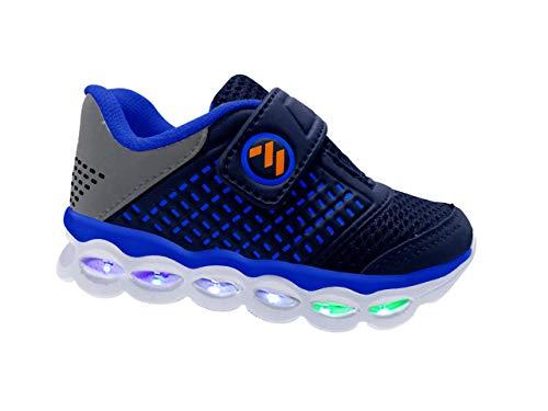 Tênis Infantil Masculino Com Luzes de Led MP1814 - AS109 Cor:Azul Marinho-Royal;Tamanho:20