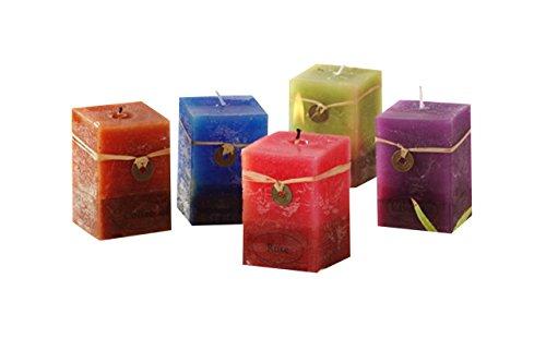 Feng Shui Kerzen Set 5 teilig Rose, Coffee, Ocean, Lavendel und güner Tee Duft Aroma Kerzenschein