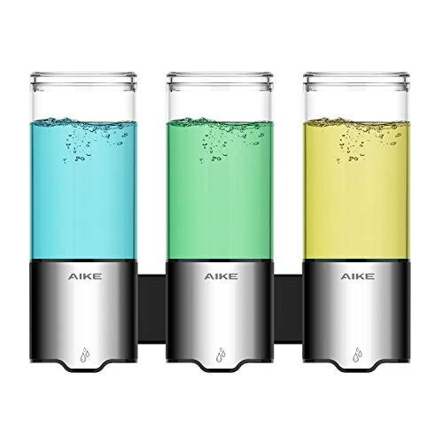 AIKE® AK1212 Automatischer Duschseifenspender,Wandshampoo,Conditioner&Körperwaschspender,Edelstahl,Flüssigseifenspender zum Baden/Duschen,IPX7,500ml(Verdreifachen)