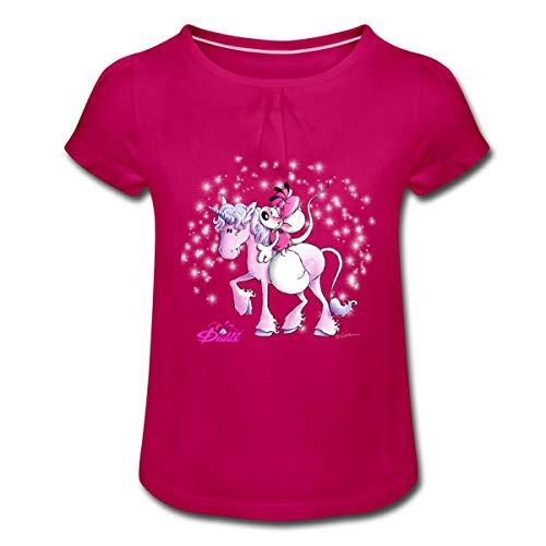 Diddl Diddlina Reitet Auf Einhorn Lalunaly Mädchen T-Shirt mit Raffungen, 8 Jahre, Fuchsia