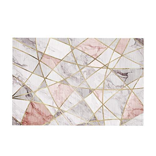 zyy Alfombra Alfombras Geométricas Motivo de Rombos Suave Rectángulo Único Material de Microfibra Antideslizante Niños Dormitorio Cabecera Habitación Juvenil de Piso (Color : Pink, Size : 120x160cm)