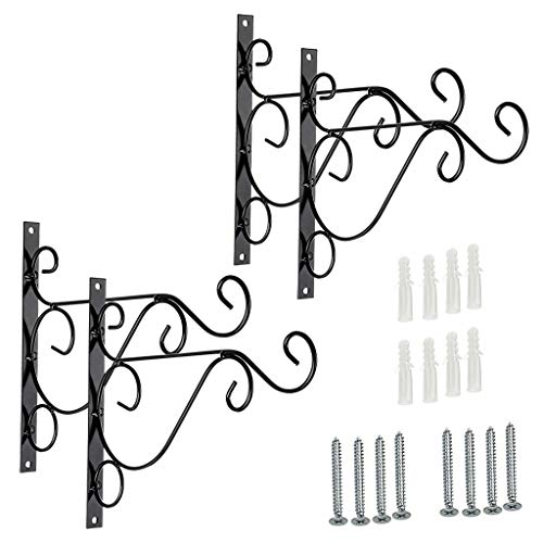 Sumnacon Metal Plant Hanging Bracket Hook - 4 Pack 10 Sturdy Wall Plant Hangers Indoor Outdoor Bracket for Hanging Bird Feeders,Lanterns,Planters,Wind Chimes,Ornaments with Screws