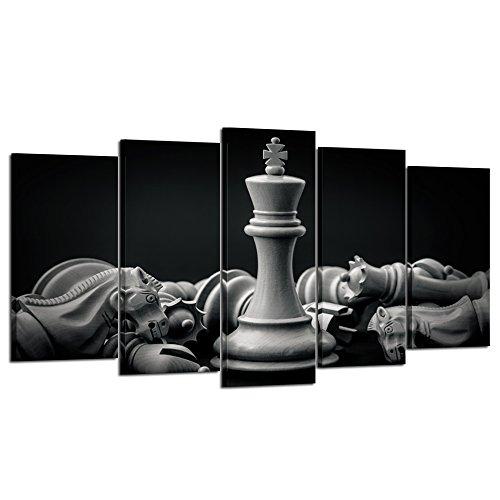 Kreative Arts Cuadro en blanco y negro rey y caballero de ajedrez sobre lienzo, 5 piezas, impresión de póster de obras de arte para decoración de pared de sala de estar (tamaño grande 152,4 x 81,3 cm)