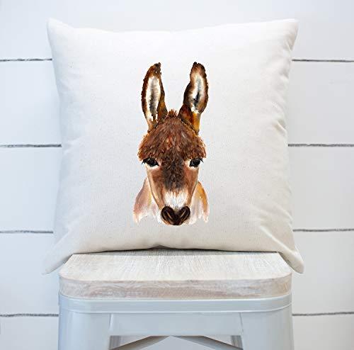 NoBrands Farmhouse Throw Pillow - Burro - Animales de granja - Decoración del hogar - Funda de almohada