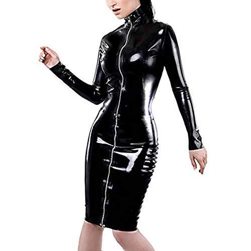 WONDER BEAUTY Donna Pelle Vestito Wetlook Latice Elegante Bodycon Midi Clubbing Vestito